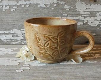 Caramel Carved Coffee Cup - Round Bottomed Mug - Stoneware Mug - Tea Cup - READY TO SHIP