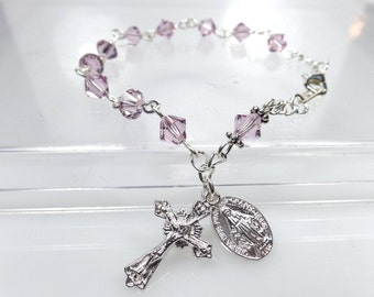 Swarovski Light Amethyst Rosary Bracelet Mother's Confirmation June RCIA Catholic