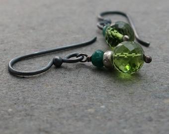 Peridot, Emerald Earrings Bright Green August, May Birthstone Oxidized Sterling Silver Earrings