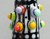 Mod Spot Stripey Skinny Mini Cone--Handmade Lampwork Glass Bead