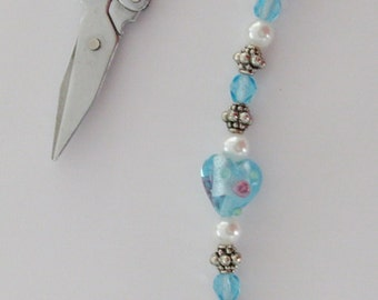 """Scissor Fob -Glass Heart Lampwork Bead, Aqua Czech Crystal, White Glass Pearls, and Pewter - 6"""" Long - Fob 8"""