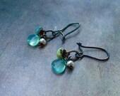 Chalcedony, Turquoise & Pearl Earrings