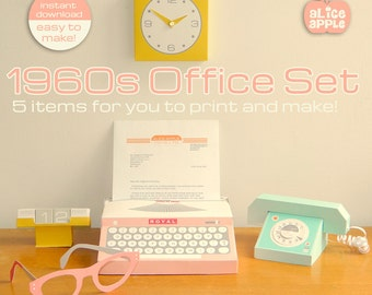 Vintage 1960s Office Set Paper Toy PDF - Print and Make Your Own 5 Piece Mid Century Office