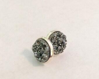 Gunmetal silver druzy earring, druzy jewelry, drusy stud earrings, bridesmaids earrings, brides earrings