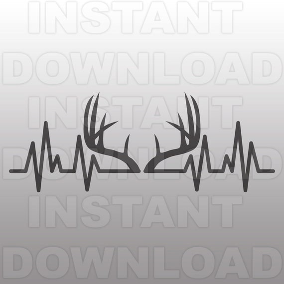 Deer Antlers Heartbeat Svg Filehunting Ekg Svgpulse