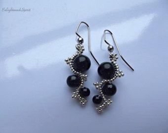 Black and silver earrings, glass pearls, victorian, spiral, scrolls, bead weaving, elegant