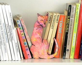 decorative pillow, cat pillow, animal pillow, cat shaped small pillow, kitty shaped pillow, pink floral batik fabric