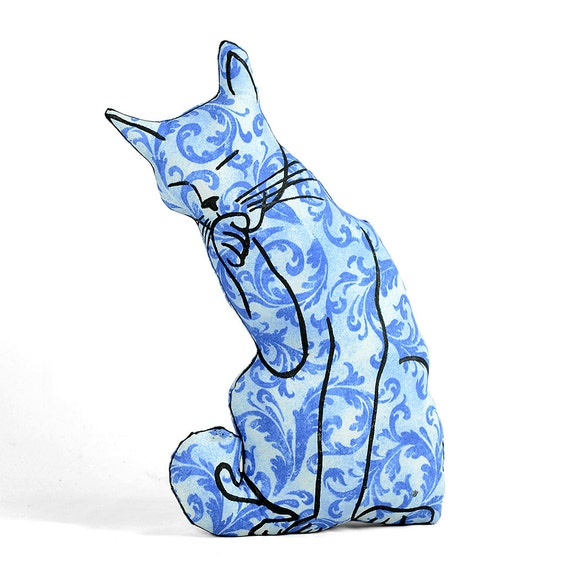 decorative pillow cat pillow animal pillow cat licking paw