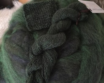 Forever Green - appx 4 oz- wool and mohair roving