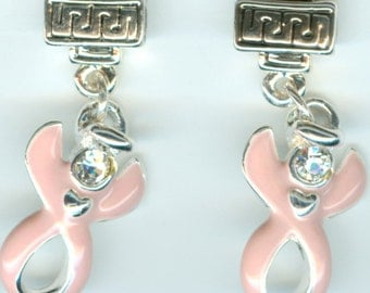 Breast Cancer Awareness - Pink Guardian Angel Swarovski Ribbon Awareness Earrings ~ Raising Money to Find a Cure!!