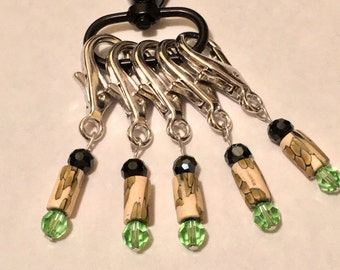 Crochet Knitting Removable Stitch Markers Swarovski Peridot Green and Jet Black Crystals and Snake Print Polymer Clay Beads