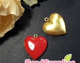 CH-EX-08055RE - Nickel Free, Heart-shaped locket, red, 2pcs