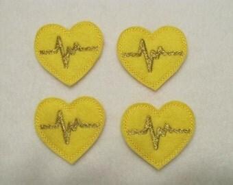 4 Felt EKG HEART Applique Embellishments Style DM large size