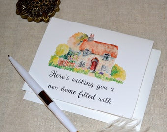 "Watercolor Cottage ""Joy and Cheer""  Printed Housewarming Card with envelope"