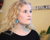 Upcycled earrings, spring flowers, blue pansies, floral, flower earrings, pansies, bike inner tubes,  jewelry for her, hand painted, #319