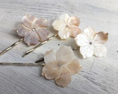 Beach Wedding No.8 - Large Carved Natural Mother of Pearl Flower Hair Pin with Swarovski Rhinestone Center