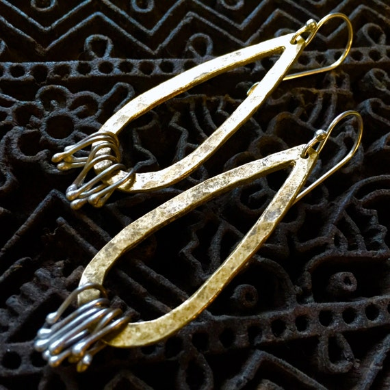 Embellished Brass Tear Drop Earrings