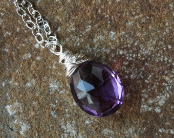 Amethyst Necklace, Sterling Silver Wire Wrapped Amethyst Necklace, Amethyst Briolette, February Birthstone Necklace, Gemstone Pendant