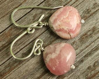 Rhodochrosite Sterling Silver Earrings, Rhodochrosite Gemstone Earrings, Handmade Stone Earrings, Pink Rhodochrosite Earrings, Everyday