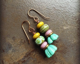 Stacked Lampwork Glass Earrings