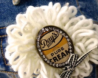 Vintage 50s American Milk Bottle Cap Pins