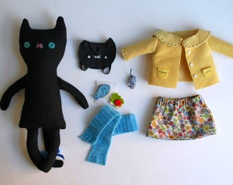 Black Wool Kitty Plushie Doll with Clothing and Accessories Made from a Recycled Suit Coat