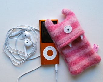Pink Stripey Monster iPod Nano or Shuffle Cozy