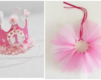 Girl Dog Birthday Tutu & Party Hat or Crown Set- 1st Birthday