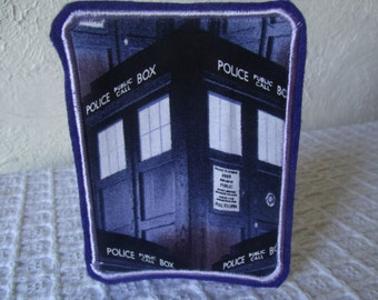 Dr Who Tardis Embroidered Iron On Patch Blue Purple Police Box