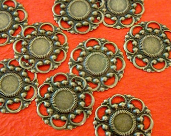 24pcs 26mm Antique Bronze Filigree Flower Wraps A60