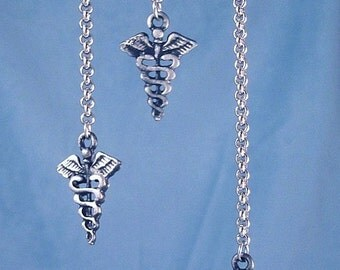 Caduceus Nurse Doctor Earrings Long Chain Medical Profession Healing Arts Jewelry 316L Stainless Steel Long Rolo Chain Black Silver Charms