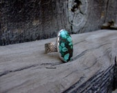 Turquoise Ring Sterling Silver Turquoise Ring With Wide Flower Pattern Band