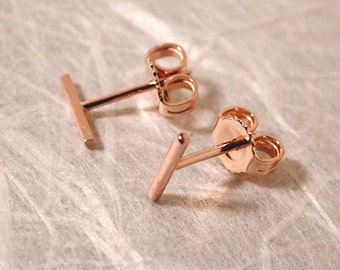 7mm x 1mm Bar 14k Stud Post Earrings Rose Gold 14k Edgy Stud Earrings Contemporary Jewelry by Susan SARANTOS