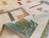fresh modern scrap quilt --- full/queen  -- White and colorful scraps
