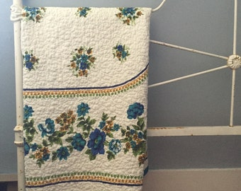 Vintage table linen stitched into a lap quilt robins egg gingham