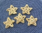 RESERVED for QUINN BERGER / 35x 1.25 inch crocheted Star card toppers / appliques - sparkly yellow