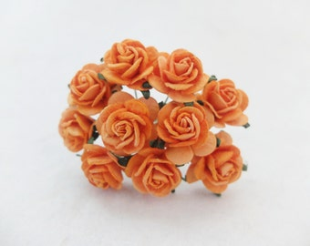 Orange paper roses - 20mm orange mulberry paper roses with wire stems