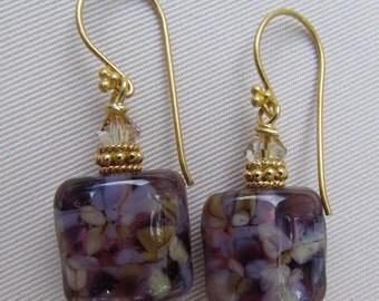 Amethyst Autumn Lampwork Earrings