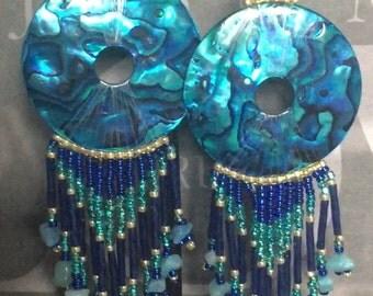 Long Blue Abalone Shoulder Duster Seed Bead Earrings Beaded Dangle Earrings
