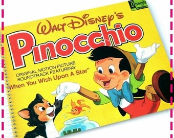 SALE 40% OFF--- Walt Disney's PINOCCHIO Original Motion Picture Soundtrack - Recycled Retro Record Album Cover Movie Journal Notebook - Vint