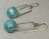 turquoise aqua blue green recycled glass earrings rectangle drop earrings witha organic shaped bead dangle
