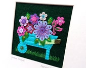 New GARDEN BOUQUET hand embroidered, original textile picture for the home - 23cm square
