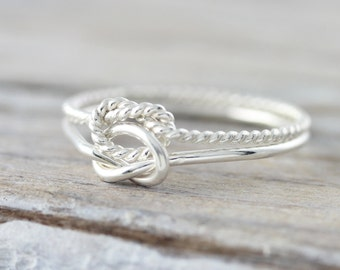 Nautical double knot ring - silver or yellow gold filled ring, friendship ring