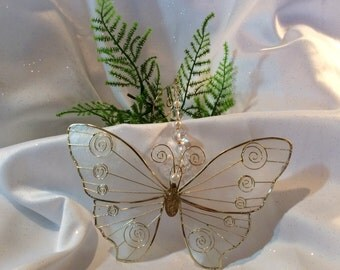Large White Capiz Shell Butterfly with Swarovski Crystal Beads and Pearls, Handmade Hanger, Unique Gifts, Housewarming Gifts, Wedding Gifts