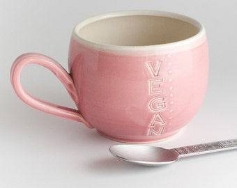 Vegan Dish - Mug - Fancy - Pink - READY TO SHIP
