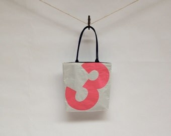 Recycled Sail Cloth Tote Bag  - Florescent Number 3
