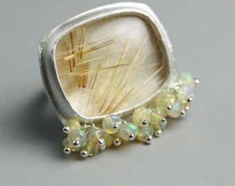 Golden Rutilated Quartz Statement Ring with Welo Opal Fringe. US size 6.5. Sterling Silver.