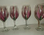 Wine glass/goblet Handpainted,  Berry Wine/Light Pink