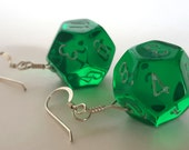 D12 Twelve Sided Dice Earrings - Translucent Green with White Numbers - Geeky Gamer Jewelry