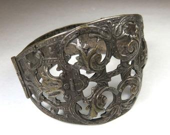 SJK Vintage -- Vintage Antique Silver Plated Souvenir of France Hinged Cuff Bracelet, Filigree, Repousse (1900's-1920's)